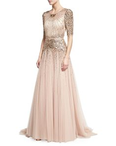 Beaded Short-Sleeve Tulle Gown by Jenny Packham at Neiman Marcus. Tulle Ball Gown, Tulle Dress, Ball Gowns, Dress Up, Gown Dress, Pink A Line Dress, A Line Gown, Pink Dress, Gowns With Sleeves