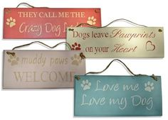 These wooden dog themed signs are great fun and look great in any home. Handmade and hand painted in the UK. Great range of colours and dog themed slogans to choose from. Bear Signs, Dog Signs, Dog Crafts, Animal Crafts, Rustic Wood Signs, Wooden Signs, Do It Yourself Crafts, Crafts To Make And Sell, Animal Projects