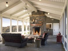 Traditional Porch Design Ideas, Pictures, Remodel and Decor Enclosed Porches, Screened In Porch, Rustic Outdoor Decor, Traditional Porch, Traditional Fireplace, Traditional Design, Building A Porch, House With Porch, Exposed Beams