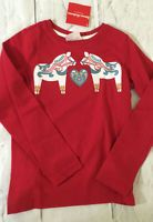 Hanna Andersson Size Girls Red Horse T Shirt Tee Nwt 100 110 120 130 140 160