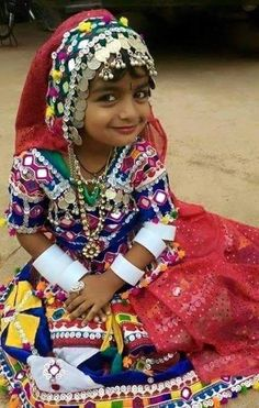 Little girl in traditional Banjara costume in India.