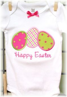 3 Easter eggs Applique Machine Embroidery Design...Just bought this applique to put on Josalyn's Easter dress my Nanny is making her <3