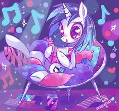 WOOO~! (ノ*゜▽゜*) Vynil Scratch is so awesome OMG, look at her super duper colorful room~! <3 \(@;◇;@)/ is ...