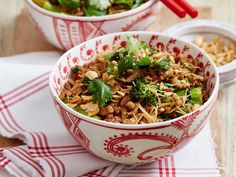 This irresistible sticky Thai pork recipe is great topped with nuts, fried shallots and lime wedges. Enjoy for a comforting and easy weeknight family meal that's ready in just 30 minutes