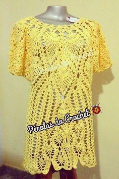 * Pérolas do Crochet: Blusa em crochet com motivos em abacaxis com gráfi...