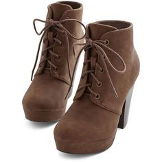 ModCloth Come Haute on Top Bootie (€42) ❤ liked on Polyvore featuring shoes, boots, ankle booties, heels, sapatos, brown, bootie, boot - bootie, heeled bootie and platform ankle boots