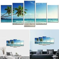 5 panel beach painting - Google Search