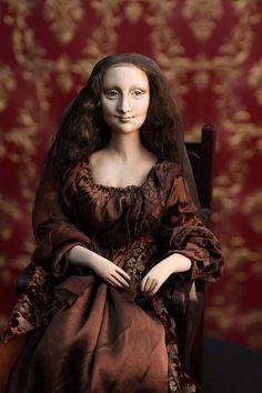 Doll Mona Lisa del Giocondo Paperclay by DollsDarya on Etsy