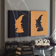 Witch Canvas Silhouette Home Decor. Make DIY Halloween wall decor using canvas, an X-ACTO knife, and craft paper.