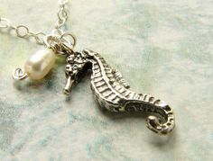 Tiny seahorse necklace sterling silver seahorse by soradesigns, $25.50