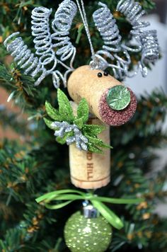 Reindeer+Holiday+Ornament+by+TheCorkForest+on+Etsy