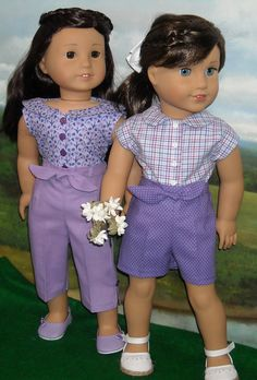 1950's Lilac and White Play Set for AG Maryellen includes two Blouses, Skirt, Shorts & Pants by SugarloafDollClothes on Etsy  $54.00
