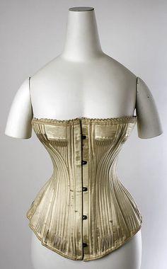 Corset  Date: 1880s Culture: American Medium: silk, bone Dimensions: Length at CF: 15 in. (38.1 cm) Length at CB: 13 1/4 in. (33.7 cm)