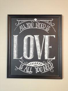 Valentine's Day love chalk board art #beatles