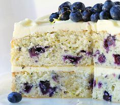 """This stunning blueberry zucchini cake was developed by Amanda Rettke from iambaker<i>.</i>net. The Minnesotan is the author of """"Surprise-Inside Cakes: Amazing Cakes For Every Occasion with Something Extra Inside"""" (Morrow, 2014). This is the ultimate summer cake."""