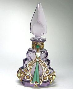 Czech Jeweled Perfume Bottle Amethyst