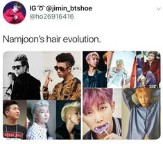 Namjoons gone trough the most dramatic hair changes out of all members