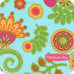 Ooh La La Aqua Bouquet De Fleurs Yardage SKU# DC5198-AQUA-D - Fat Quarter Shop
