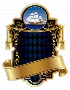 Gold-Framed Label with a Ship Preview - GraphicRiver Ship Vector, Flag Vector, Free Vector Images, Vector Free, Medieval Banner, Banner Clip Art, Curtains Vector, Brand Purpose, Poster