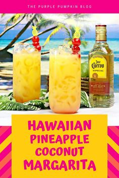 This Hawaiian Margarita cocktail is full of tropical flavours and perfect for luau party. It's a twist on a traditional margarita, made with pineapple juice and coconut water, in addition to the usual tequila, triple sec, and limes - totally delicious! Margarita Cocktail, Cocktail Drinks, Cocktail Recipes, Alcoholic Drinks, Keto Cocktails, Tequila Drinks, Fruity Cocktails, Cocktail Parties, Party Drinks
