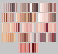 My skintones by Lily-Fu on DeviantArt skin/lip palette by GalaxyNarwhal Rgb Palette, Skin Color Palette, Digital Art Tutorial, Digital Painting Tutorials, Skin Color Chart, Color Palette Challenge, Wie Zeichnet Man Manga, Poses References, Color Studies