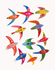 Bird flock by Carolyn Gavin - Toi Gallery Flock Of Birds, Eco Friendly Paper, India Ink, Bird Illustration, French Artists, Flocking, Giclee Print, Original Artwork, Hand Painted