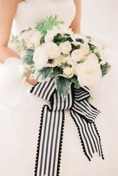 Black and White Bouquets Striped Wedding, Floral Wedding, Wedding Flowers, Ribbon Wedding, Nautical Wedding, Monochrome Weddings, Ribbon Bouquet, Creative Wedding Ideas, Bride Bouquets