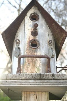 A finch nests in this birdhouse every year.