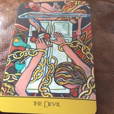 """The Devil from The Cook's Tarot by Judith Mackay Stirt  reminds you that you can never be bonded to negativity and unhealthy dependencies unless you allow it.  You have the power to break free from the chains of negativity be it a tension-filled job,  a toxic relationship or an unhealthy habit.    Kitchen Wisdom: """"If you get down and quarrel everyday, you're saying prayers to the devil, I say. """" ~ Bob Marley #Tarot #Singapore #Quote #TheCooksTarot"""