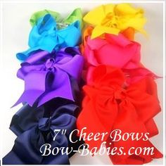 """Traditional 7"""""""" Ribbon Cheer Bow with 5"""""""" Tails"""