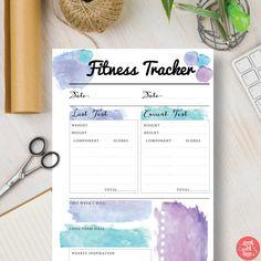Download Planner Daily Fitness - Fitness Tracker Insert - Watercolor Inserts A4, A5, Letter & Half sizes. Filofax, kikki K | #580