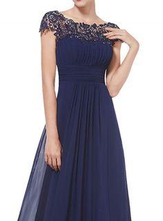 Stunning navy lace knee length scallop neck midi elegant dress ...