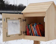 BEST PRICE for outdoor neighborhood book box. Unfinished little library for book exchange. Little Free Libraries, Little Library, Library Plan, Library Ideas, Kids Library, Little Free Pantry, Street Library, Book Subscription Box, Lending Library