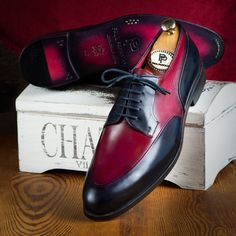 Paul Parkman Men's Bordeaux & Navy Derby Shoes  Website: www.paulparkman.com . . .   #paulparkman #derbyshoes  #handmade #bespoke #luxury #shoemaker #handcrafted #shoesformen #mensshoes #handmadeshoes #mensfashion #patinashoes #bespokeshoes #luxuryshoes #shoeaddict #shoegasm Men's Shoes, Shoe Boots, Shoes Men, Brown Derby, Brown Oxfords, Tassel Loafers, Derby Shoes, Goodyear Welt, Luxury Shoes