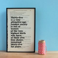 The perfect birthday gift for those of a certain age. A funny quote from Oscar Wilde, printed onto an original page from his Complete Plays.