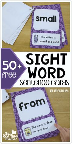 It's time for the next set of sight word sentence cards! Today, it's First Grade Sight Word Sentence Cards. The sight words in this list come directly from my level 3 printable sight word lists. Sight Word Sentences, Teaching Sight Words, Sight Word Practice, Sight Word Games, Sight Word Activities, Sight Word Flashcards, Listening Activities, Dolch Sight Word List, Sight Word Readers