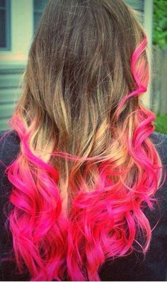 Pink ends i would so do this to my hair in october .  october is breast cancer awarness month