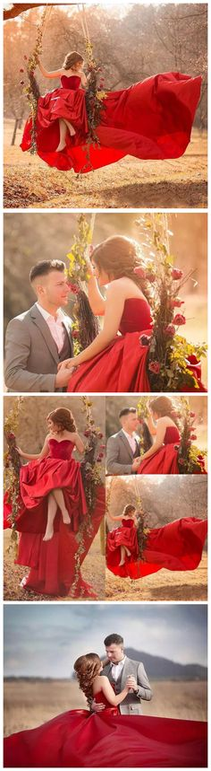 CHIC A-LINE BALL GOWN PROM DRESS RED SWEEP/BRUSH TRAIN SWEETHEART SATIN SIMPLE PROM DRESS WEDDING DRESS AM320