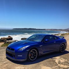 Blue Nissan GT-R Taking a break on the beach!