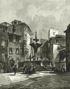 Viterbo, Fontana Grande, 1877 print