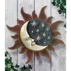 Sun and Moon Wall Art | ... product sun and moon 2pc set hanging wall art plaque decor sun 12
