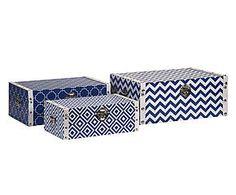 Aufbewahrungsboxen-Set Jil, 3-tlg., blau/weiß