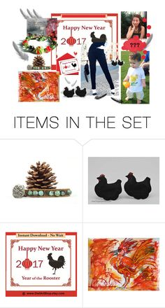 Happy New Rooster Year by owlartshop on Polyvore featuring art and 2017Rooster