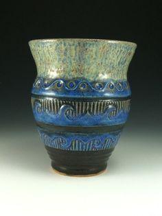 ceramic vase hand carved blue wheel thrown by firenfluxhandmade, $26.10