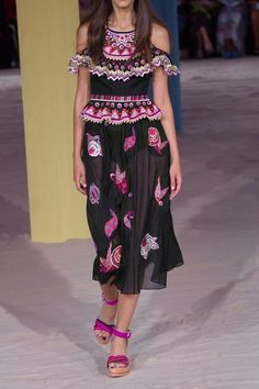 Temperley London - Wildflower Cold-shoulder Embroidered Cotton And Silk-blend Midi Dress - Black - UK