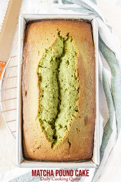 A loaf of matcha pound cake, just out from the oven. Matcha Pound Cake Recipe, Matcha Cake, Pound Cake Recipes, Tea Recipes, Smoothie Recipes, Dessert Recipes, Matcha Cupcakes, Desserts, Cake Oven