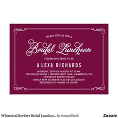 Whimsical Borders Bridal Luncheon Invitation