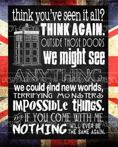 Doctor Who Quote - Nothing Will Ever Be the Same - Digital Chalkboard Poster 11 x 14 - Doctor Who Printable Chalkboard Art - TARDIS. $6.00, via Etsy.