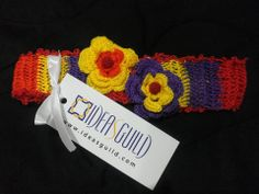 multi-colored crochet head band