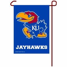 """NCAA Kansas Jayhawks Garden Flag by WinCraft. $12.60. Officially licensed garden flag. Durable polyester flag measures 11"""" x 15"""". Machine washable. Designed to hang vertically from a garden flag pole or inside as wall decor. Made in USA."""